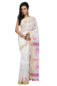 Off-White Handloom Linen Jamdani Saree