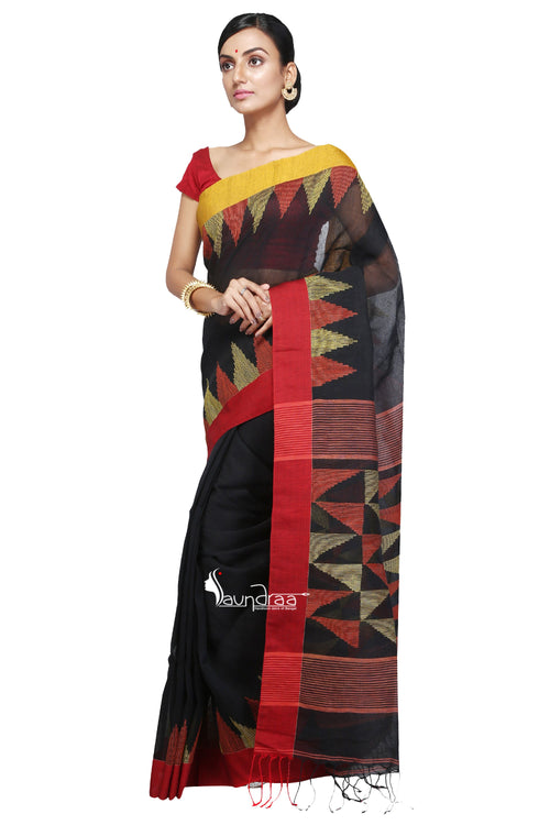 Black Handloom Cotton Saree - Saree