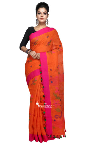 Orange Handloom Linen Jamdani Saree