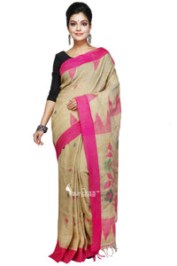 Yellow Ochre Handloom Linen Jamdani Saree