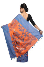 Orange Grey Handloom Cotton Saree - Saree