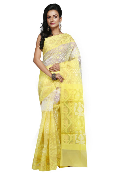 Lemon Yellow And White Jute Jamdani - Saree