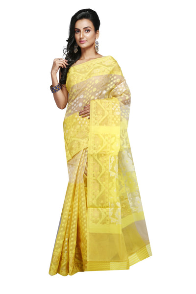 Lemon Yellow And Off White Jute Jamdani - Saree