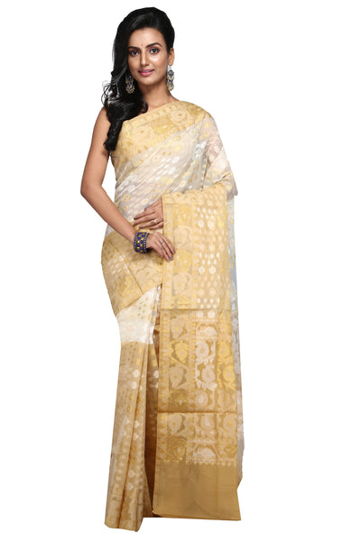 Golden Yellow And Off White Jute Jamdani - Saree