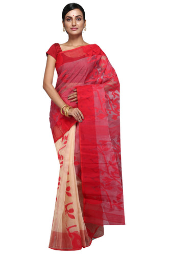 Red & Off White Dhakai Jamdani - Saree