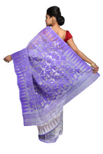 Dhakai Jamdani White & Light Violet - Saree