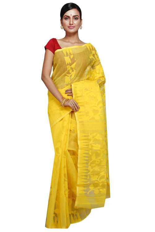 Yellow Dhakai Jamdani - Saree