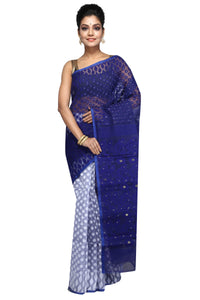 Dhakai Jamdani Deep Blue & White - Saree