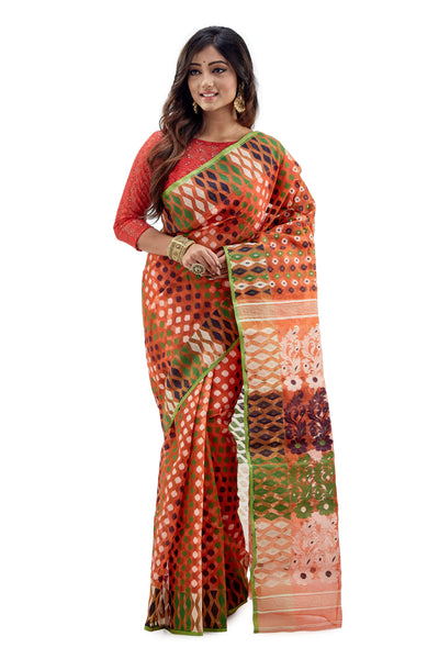 Orange Traditional Dhakai Jamdani - Saree