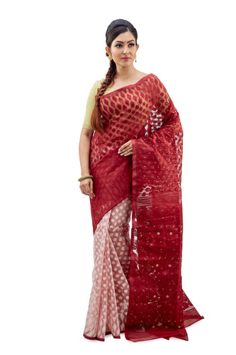 Crimson Red & White Traditional Dhakai Jamdani - Saree