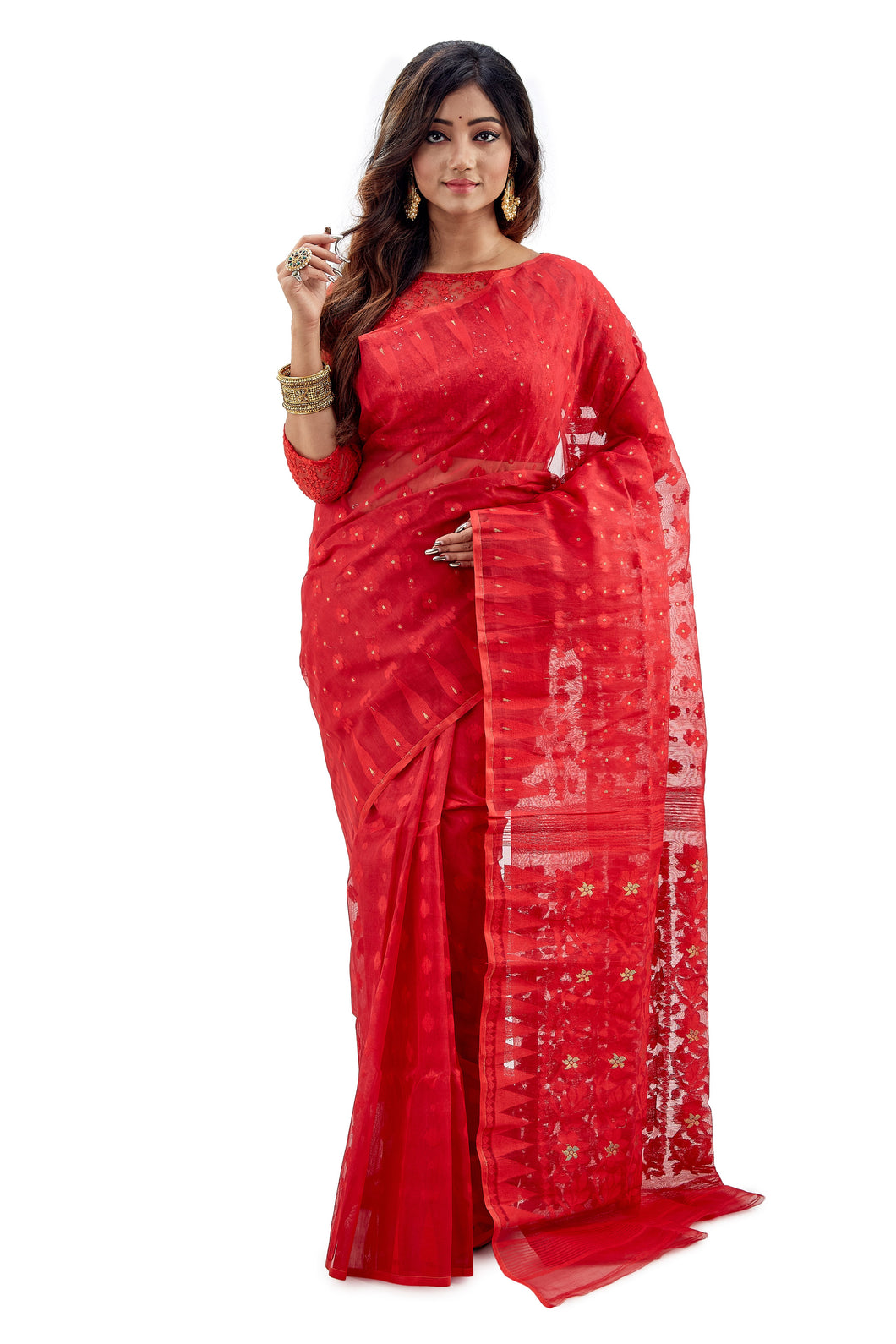 Vermilion Red Traditional Dhakai Jamdani - Saree