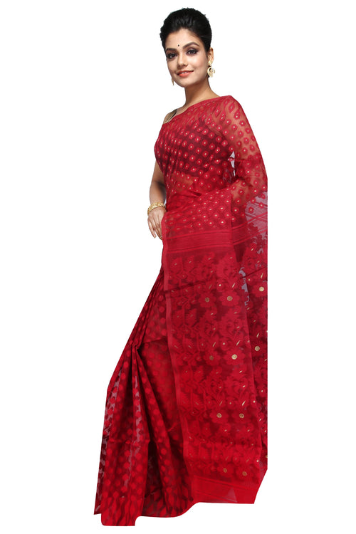 Blood Red Traditional Dhakai Jamdani - Saree