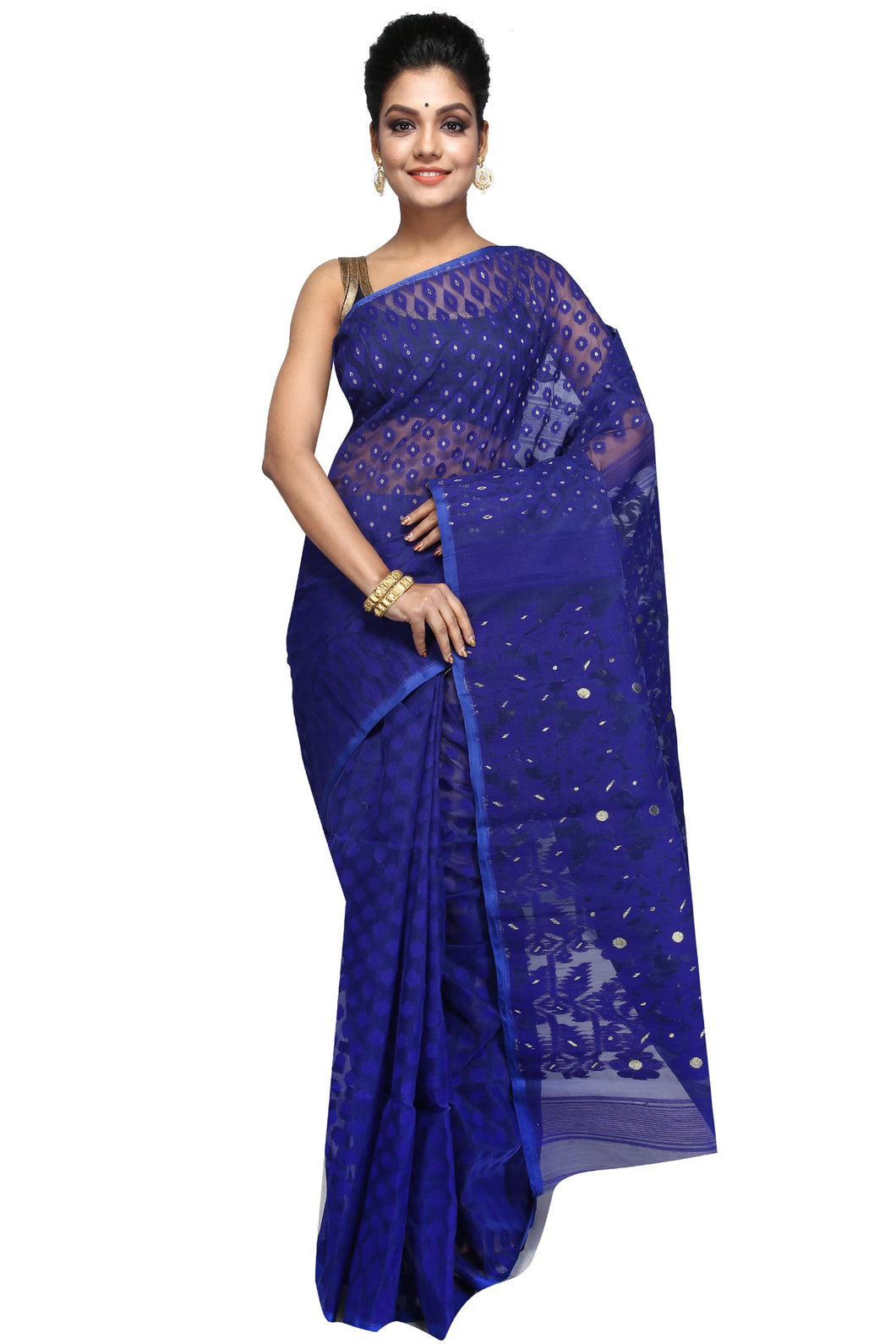 Deep Blue Dhakai Jamdani - Saree
