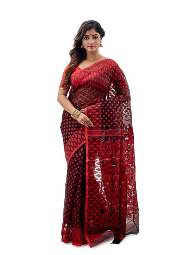 Marron Traditional Dhakai Jamdani With Full Body Self Work - Saree