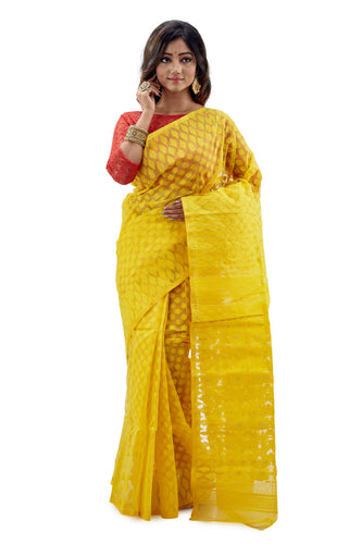 Lemon Yellow Traditional Dhakai Jamdani - Saree