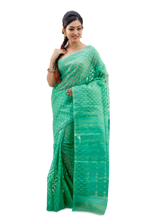 Fern Green Traditional Dhakai Jamdani - Saree