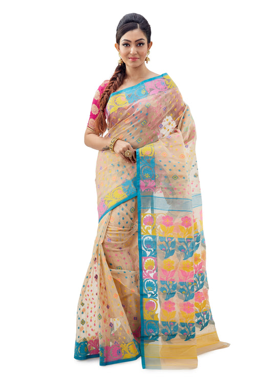 Off-White Traditional Dhakai Jamdani With Multi-Coloured Anchal - Saree