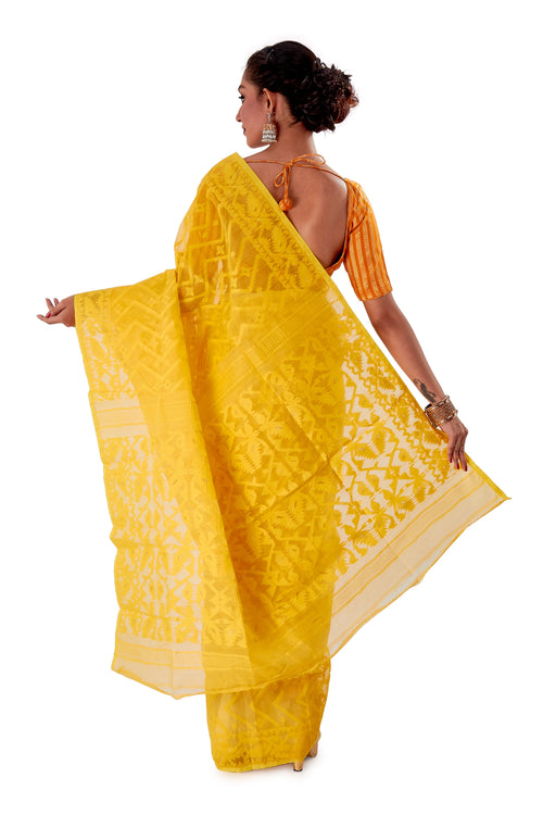 Yellow-Traditional-Dhakai-Jamdani-SNJMA4001-4