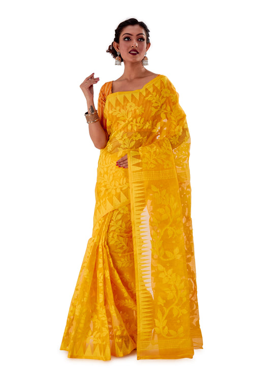 Yellow-Traditional-Dhakai-Jamdani-SNJMA4002-2