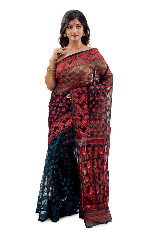 Marvellous Black Traditional Dhakai Jamdani - Saree