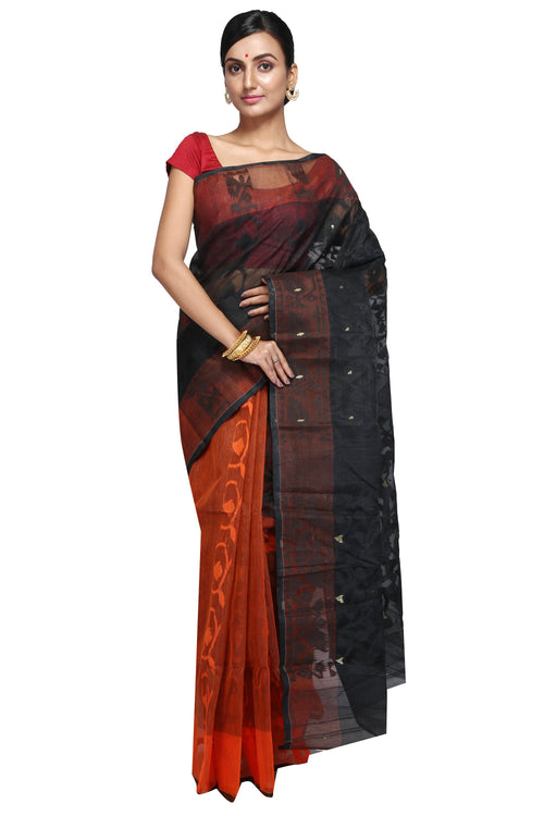 Orange & Black Dhakai Jamdani - Saree