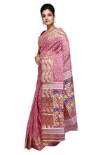 Pink Golden With Blue Dhakai Jamdani - Saree