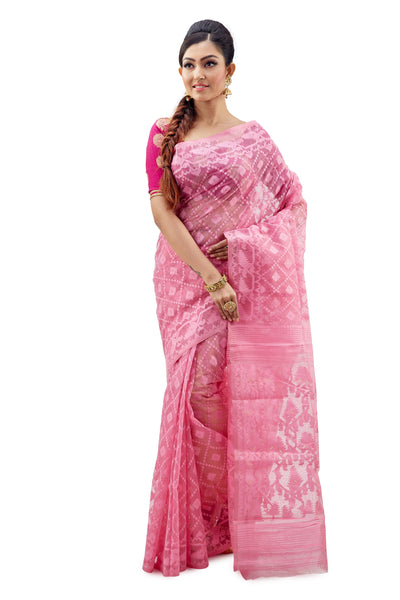 Baby Pink Traditional Dhakai Jamdani - Saree