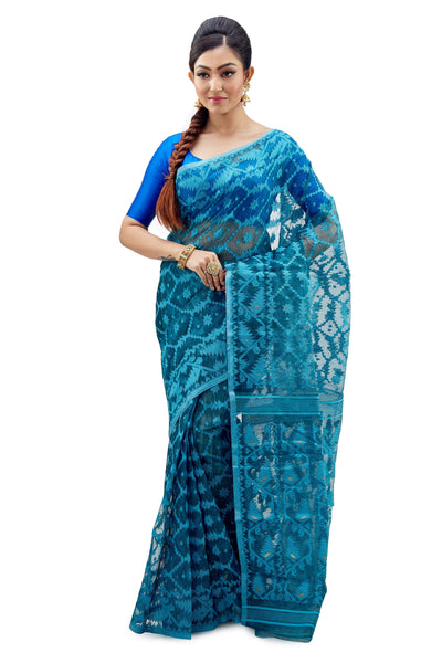 Aegean Blue Traditional Dhakai Jamdani - Saree