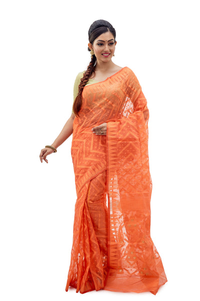 Tangerine Orange Traditional Dhakai Jamdani - Saree