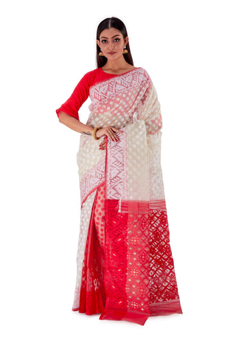 White-with-Red-Anchal-Traditional-Dhakai-Jamdani-SNJMB3002-1