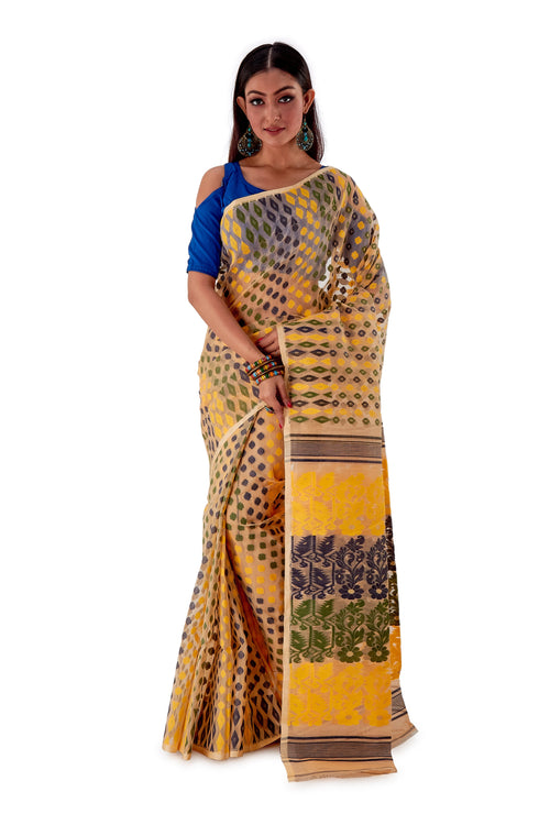 Beige-with-Multi-coloured-design-Traditional-Dhakai-Jamdani-SNJMB3005-2
