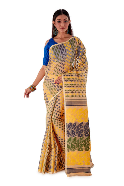 Beige-with-Multi-coloured-design-Traditional-Dhakai-Jamdani-SNJMB3005-1