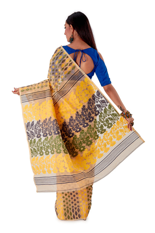 Beige-with-Multi-coloured-design-Traditional-Dhakai-Jamdani-SNJMB3005-4