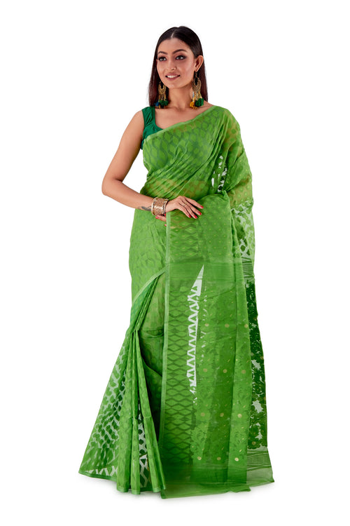 Parrot-Green-Traditional-Dhakai-Saree-SNJMB4004-2