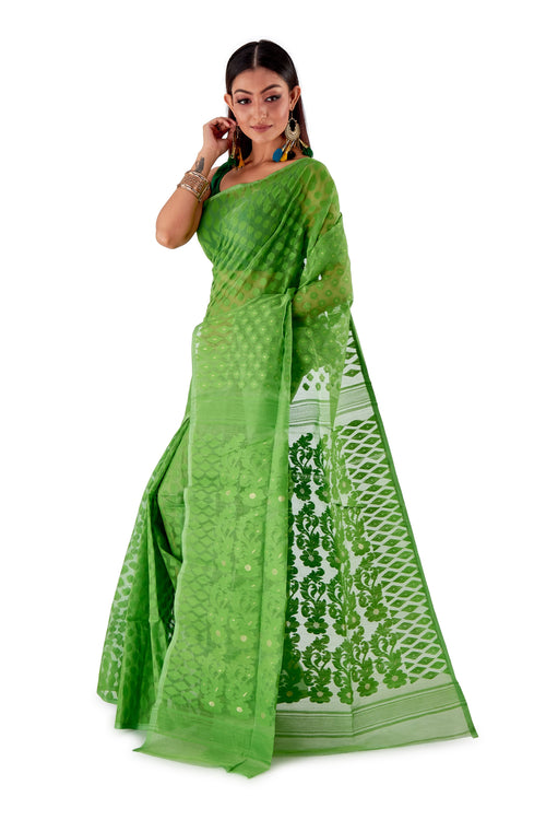 Parrot-Green-Traditional-Dhakai-Saree-SNJMB4004-3