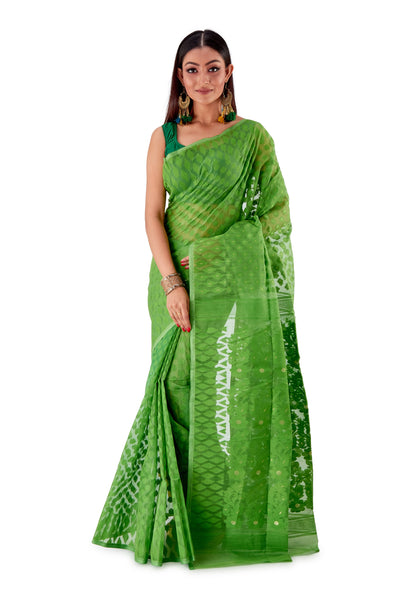 Parrot-Green-Traditional-Dhakai-Saree-SNJMB4004-1