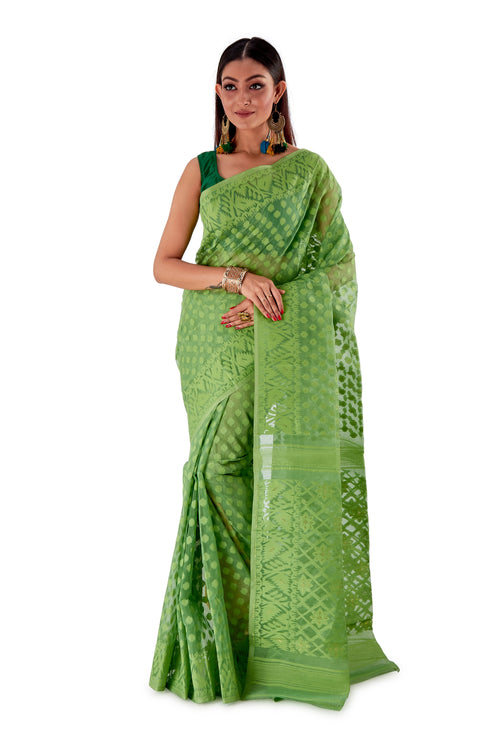 Moss-Green-Traditional-Dhakai-Saree-SNJMB4005-1