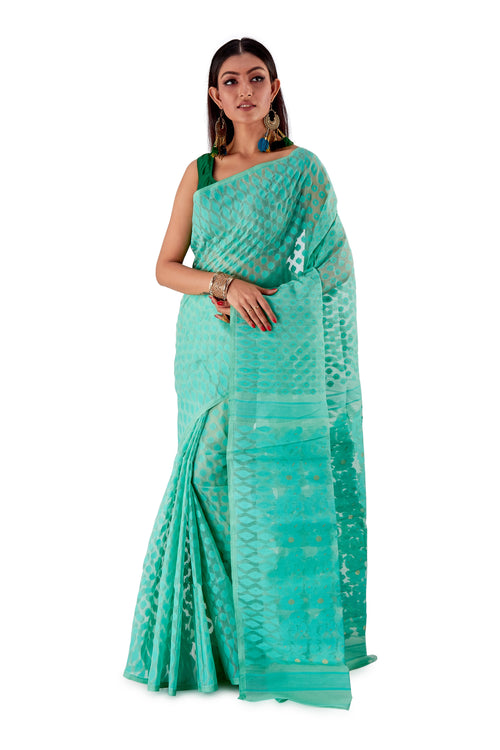 Sea-Green-Traditional-Dhakai-Saree-SNJMB4006-2
