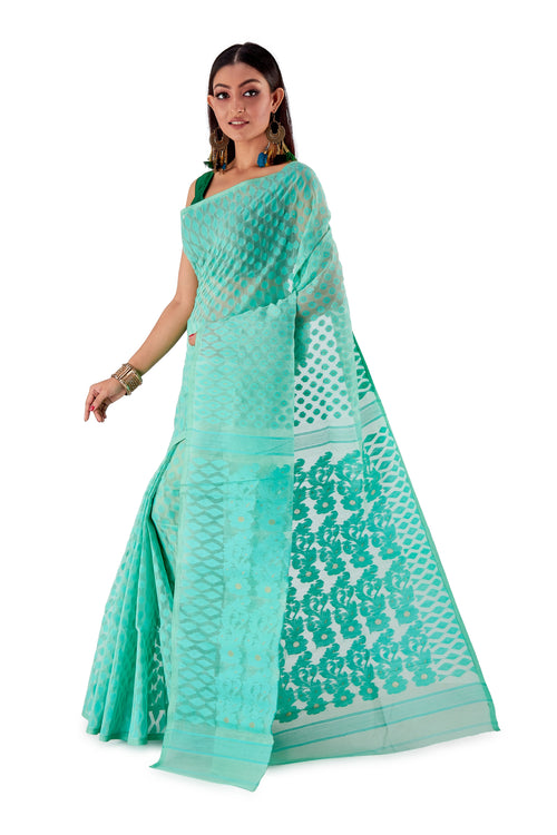 Sea-Green-Traditional-Dhakai-Saree-SNJMB4006-3