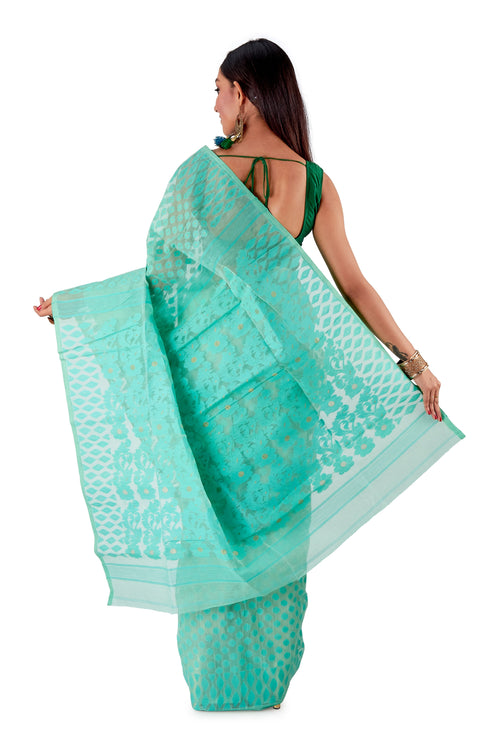 Sea-Green-Traditional-Dhakai-Saree-SNJMB4006-4