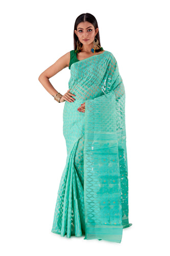 Sea-Green-Traditional-Dhakai-Saree-SNJMB4006-1