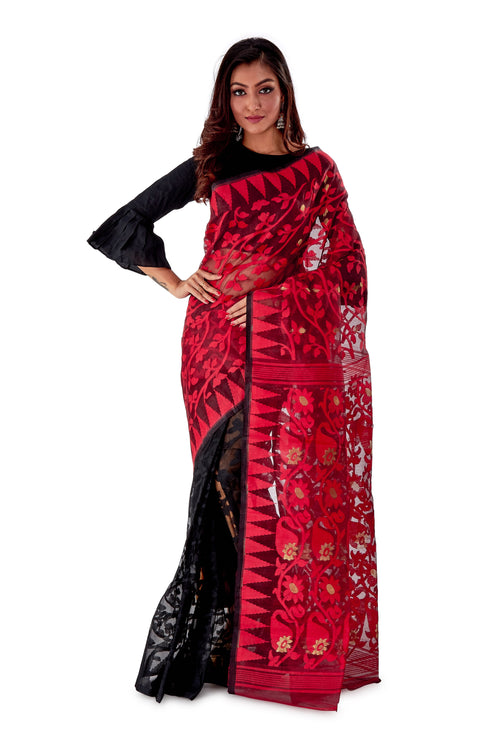 Red-Black-Aam-kolka-Traditional-Dhakai-Saree-SNJMB4007-2