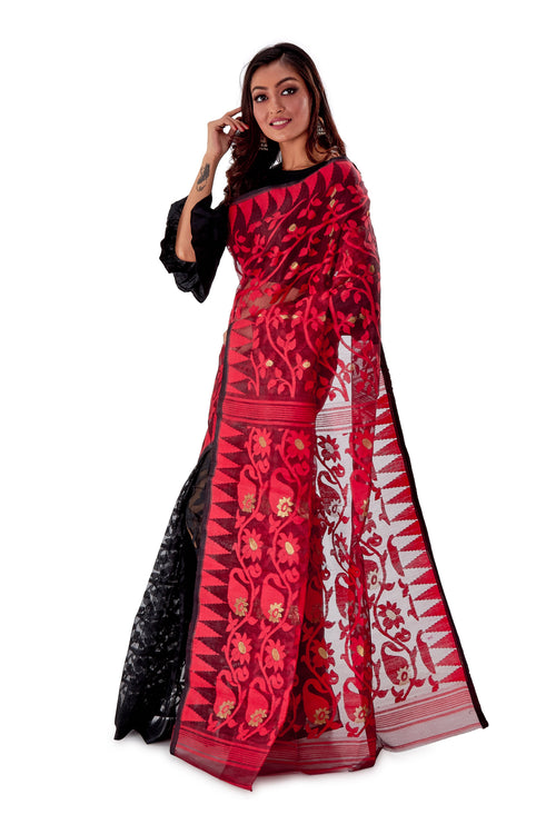 Red-Black-Aam-kolka-Traditional-Dhakai-Saree-SNJMB4007-3