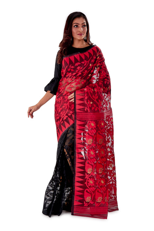 Red-Black-Aam-kolka-Traditional-Dhakai-Saree-SNJMB4007-1