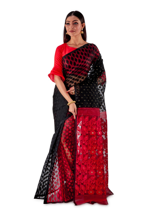 Red-and-Black-Traditional-Dhakai-Saree-SNJMB4009-2