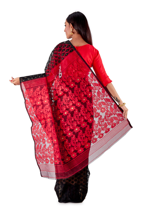 Red-and-Black-Traditional-Dhakai-Saree-SNJMB4009-4