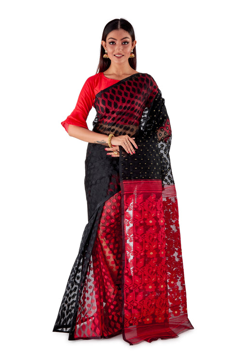 Red-and-Black-Traditional-Dhakai-Saree-SNJMB4009-1