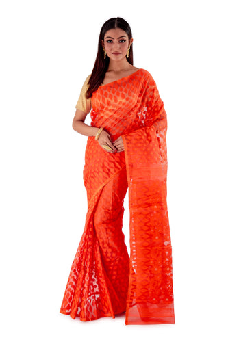 Dark-Orange-Traditional-Dhakai-Saree-SNJMB4010-1