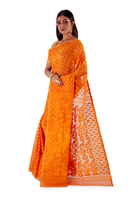 Pumpkin-Orange-Traditional-Dhakai-Saree-SNJMB4011-3