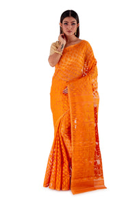 Pumpkin-Orange-Traditional-Dhakai-Saree-SNJMB4011-1